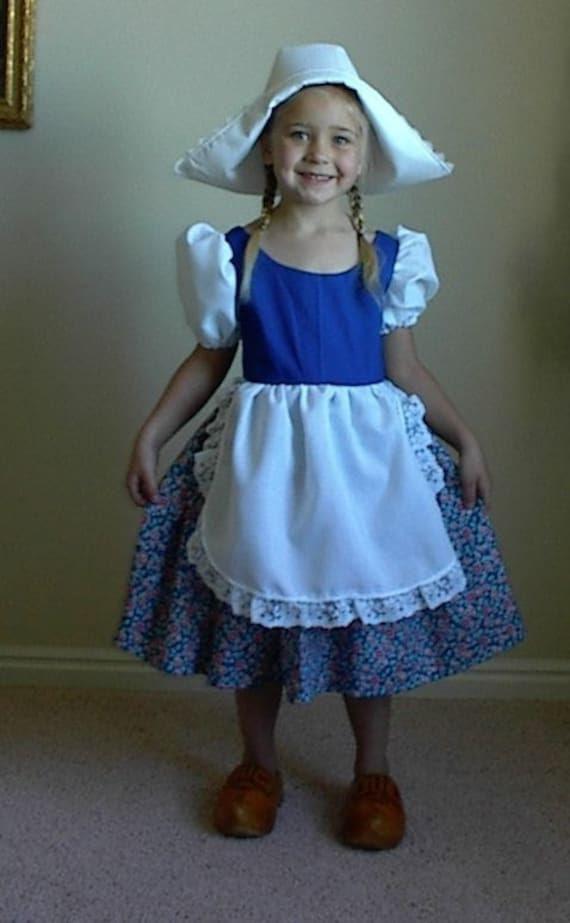 Cute Little Dutch Girl Costume Dress and Hat