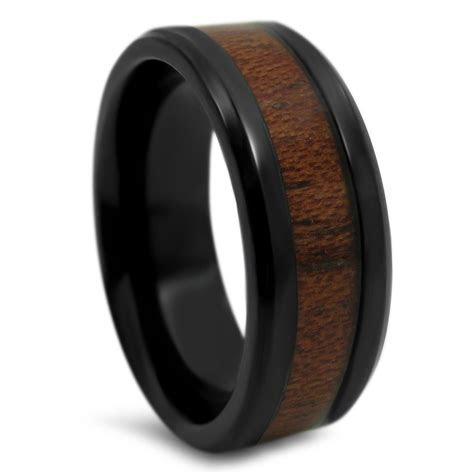 8mm Polished Wood Inlay Mens Black Titanium Wedding Band