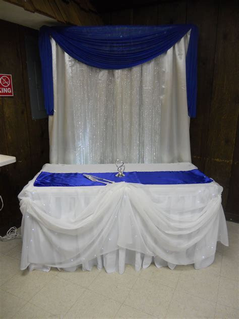 Cake table/ royal blue   wedding backdrop ideas   Church