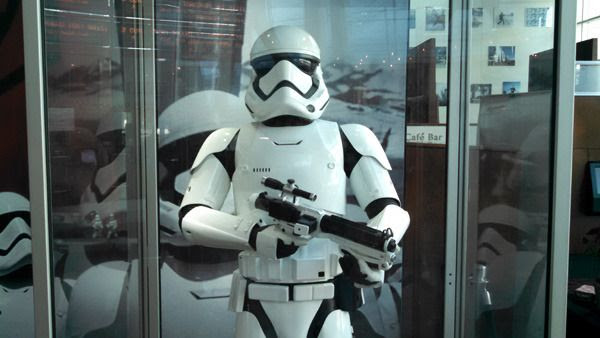 The First Order Stormtrooper suit from STAR WARS: THE FORCE AWAKENS...on display at ArcLight Cinemas in Hollywood.