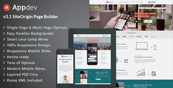 Appdev v3.9 - Mobile App Showcase WordPress Theme
