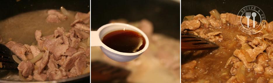 Water en suiker toevoegen, en de rest van sojasaus, oestersaus, Soja seasoning saus en zwarte sojasaus toevoegen, enkele minuten roerbakken totdat het water in de mengsel  een beetje droog is. Zet het vuur uit