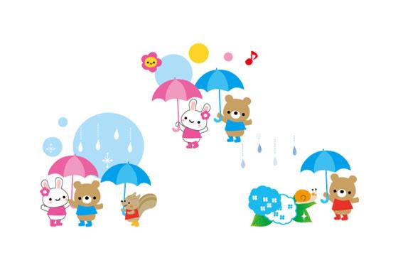 無料素材 梅雨をテーマにしたかわいい動物達のフリーイラスト素材セット