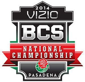 The logo for the 2014 BCS National Championship Game in Pasadena, California.