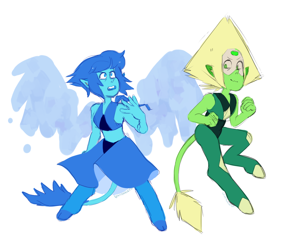 this is definitely not what i was supposed to draw today, but anyway, an AU where everything is pretty much the same, but the gems base forms are not entirely as human.