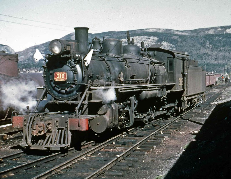 CNR Newfoundland Narrow Gauge 2-8-2 Steam Locomotive 318, 1953.
