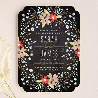 Floral Chalkboard Wedding Invitations
