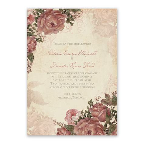 Vintage Roses Invitation with Free Response Postcard   Ann