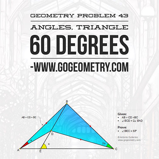 Geometry Problem 43: Angles, Triangle, 60 Degrees, Typography, iPad Apps.