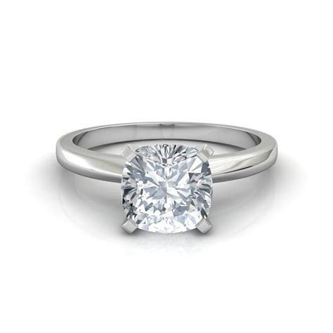 Classic Cushion Cut Solitaire Diamond Engagement Ring