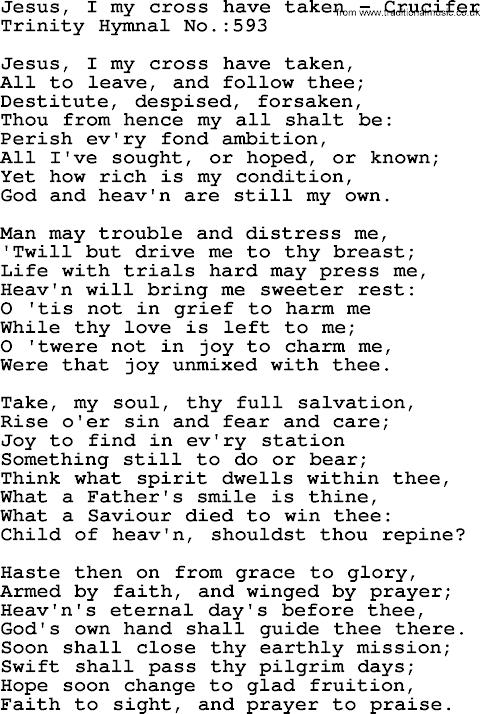 Jesus I My Cross Have Taken Lyrics