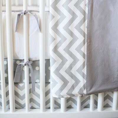 Zig Zag Baby 2 Piece Crib Bedding Set Color: Slate