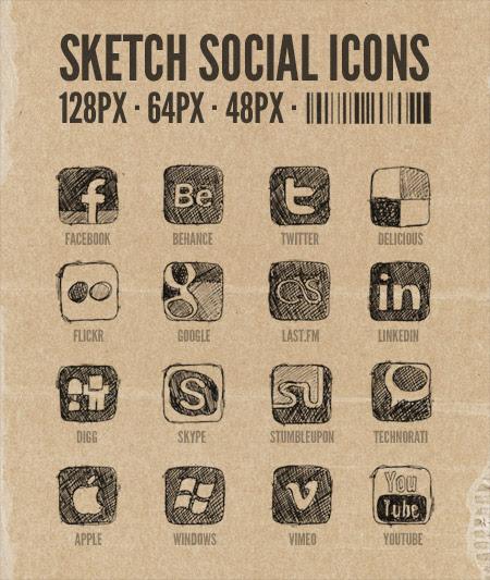 Free social sketch icons