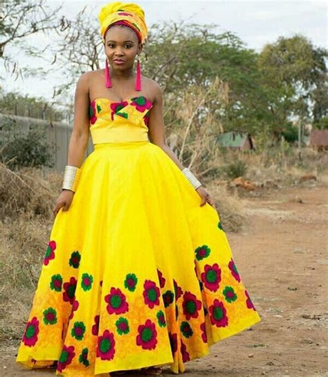 Bride In Strapless Tsonga Traditional Wedding Dress With