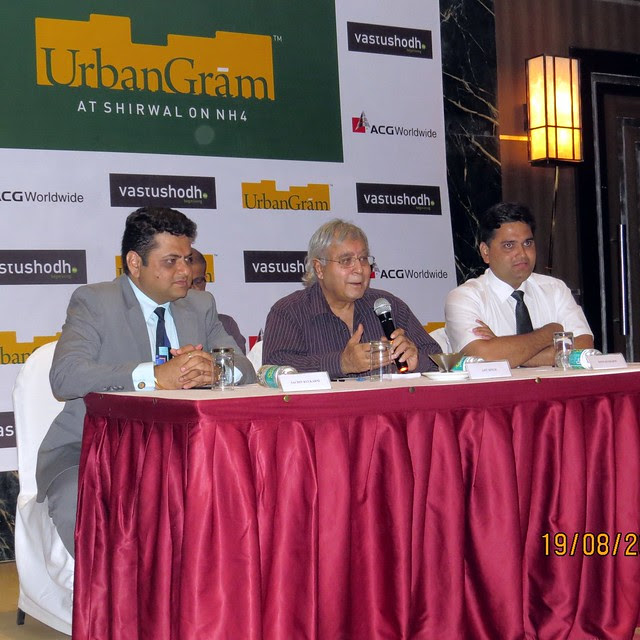 "Mr. Sachin Kulkarni, MD, Vastushodh; Mr. Ajit Singh, Chairman, ACG Worldwide; Mr. Nitin Kulkarni, Director, Vastushodh, at Press Conference of Vastushodh Projects' 'Urbangram Shirwal"", Pune 412801"