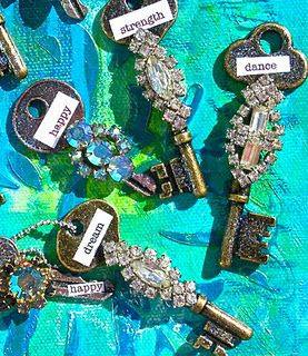 vintage jewelry on keys! Antique keys / Antique jewelry and Shadow Box; great decor idea for girls room - keys to open/unlock doors to all her dreams!