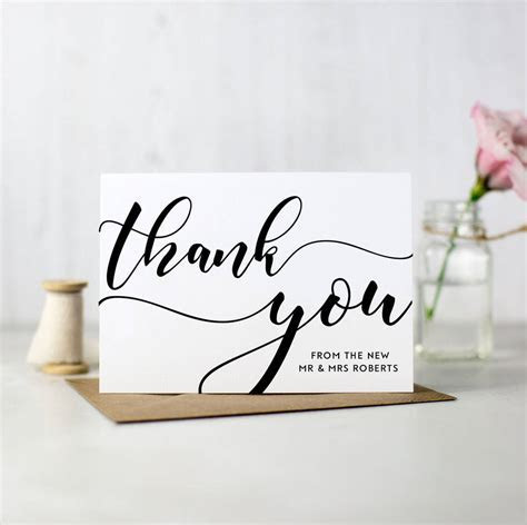 pack of 10 personalised wedding thank you cards by here's