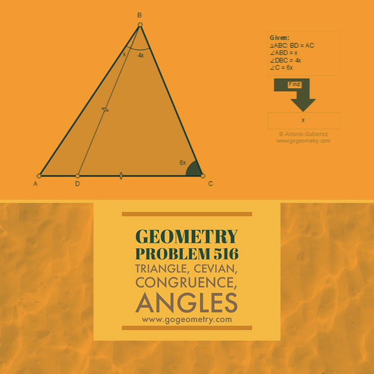 Problema de Geometría 516. Triangle, Cevian, Congruence, Angles. Ingles ESL.