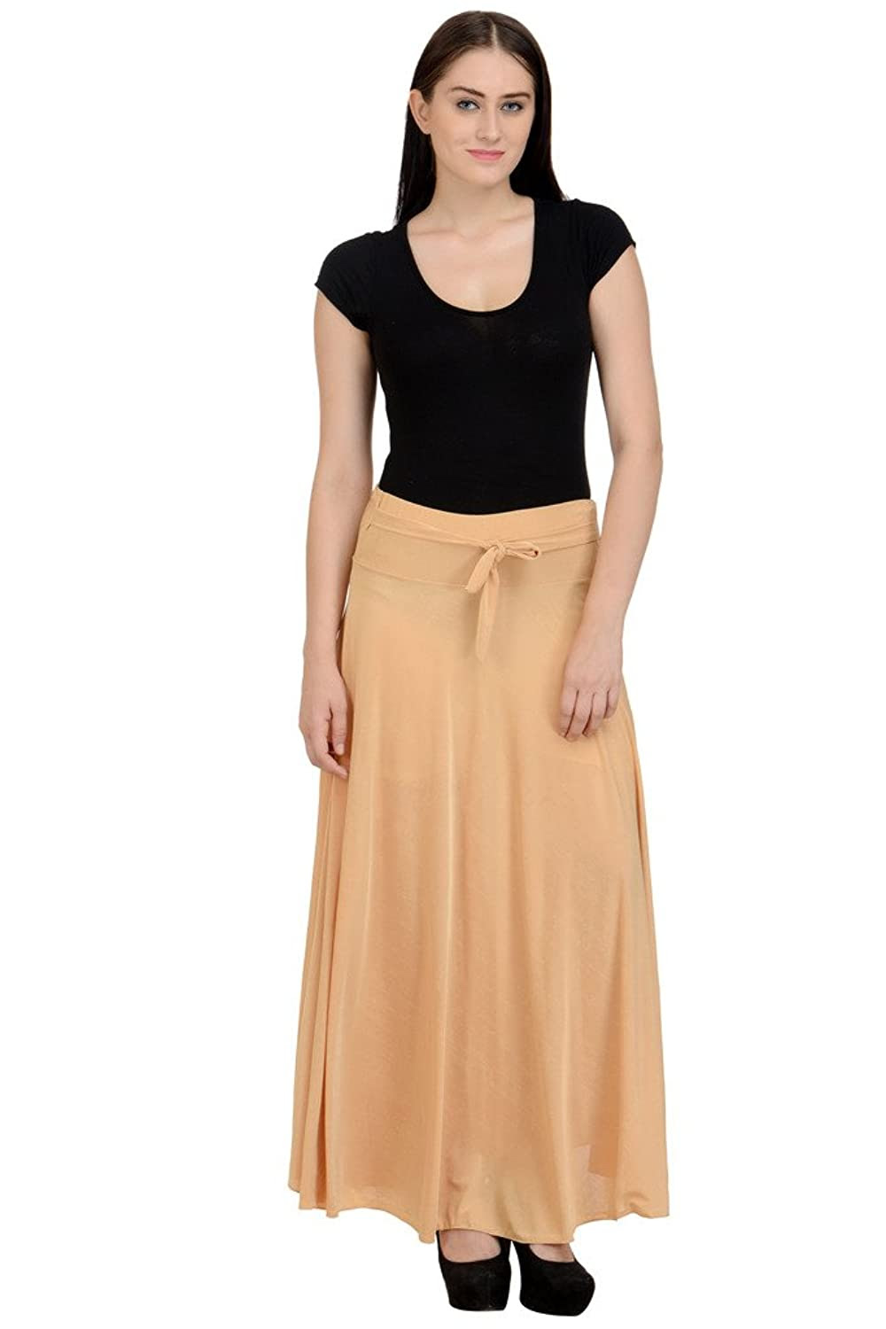Deals on NumBrave Women's Beige Lycra Skirt