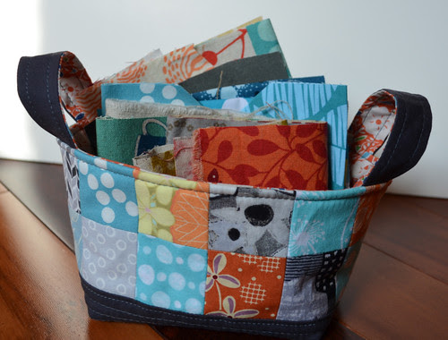 Fabric Basket and Scraps for Scrappy Swap - Shall I send it soon?