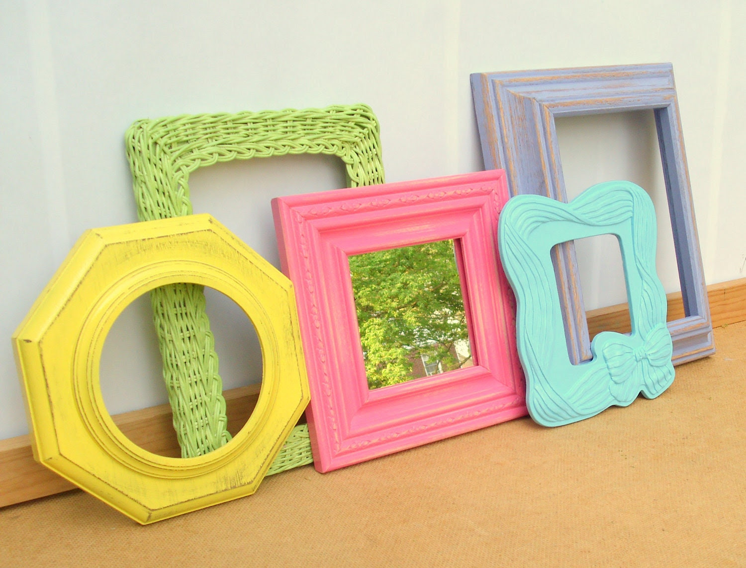 Candy Shop Frame Quintet  - 1 mirror, 4 frames- upcycled shabby cottage chic - painted apple green, yellow, aqua blue, bubblegum pink, lilac