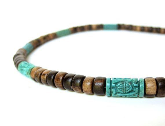 "Mens necklace handmade from ebony wood and turquoise. ""Turquoise Prayer Wheel""."