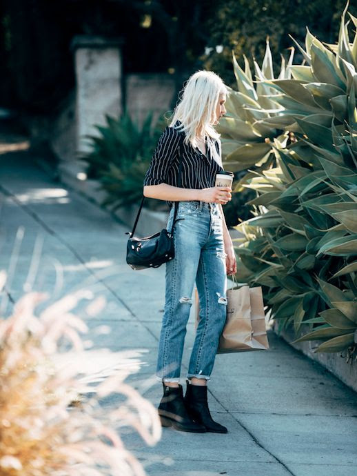 Le Fashion Blog Fashion Blogger Style Striped Shirt Distressed Jeans Boots Via Fire On The Head