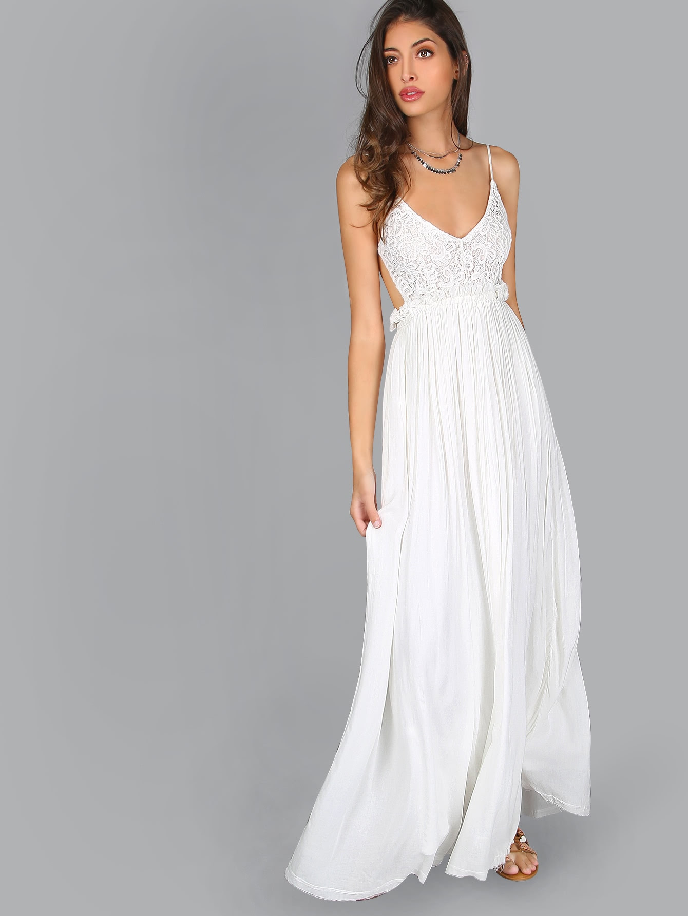 white halter backless yule crochet lace maxi dress - latest