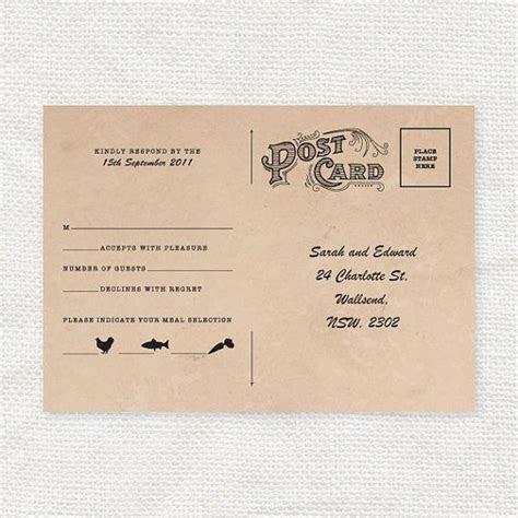 Vintage style wedding rsvp postcard   diy printable file