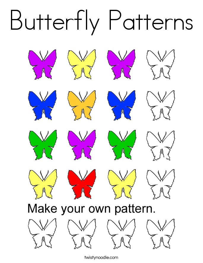 Butterfly Patterns Coloring Page - Twisty Noodle