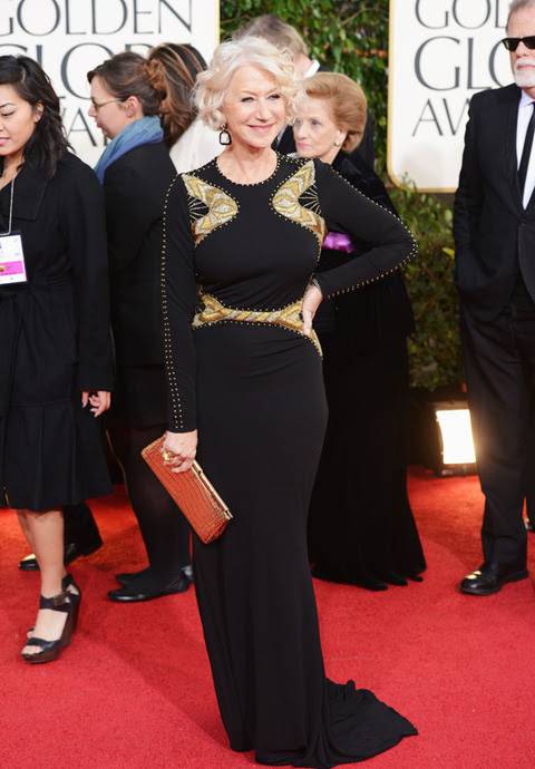 Helen Mirren in Badgley Mischka at the 2013 Golden Globes