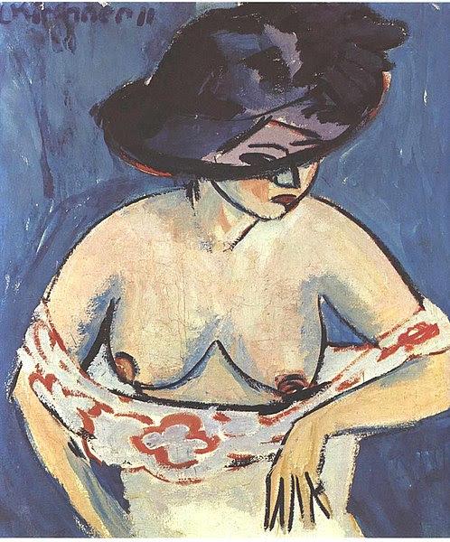 File:Kirchner - Weiblicher Akt mit Hut.jpg