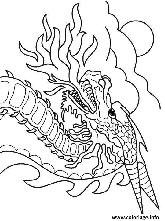 Coloriage Dragon Crache Feu Dessin Jecoloriecom