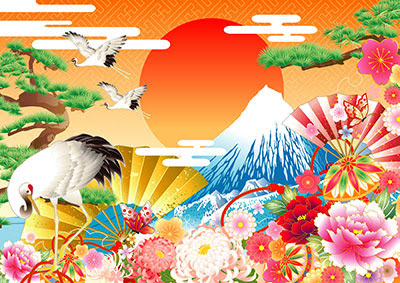 鶴 富士山 日の出 2017年酉年 オシャレな年賀状のイラスト案 Naver