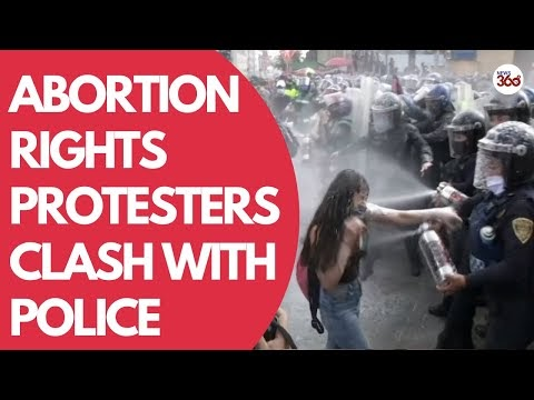 Police vs protesters at pro abortion rally in Mexico