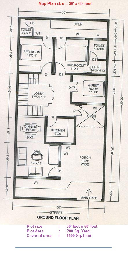 30 By 60 House Plan Map House Plans
