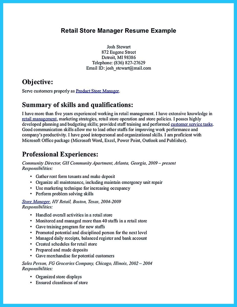 store manager resume skills and assistant retail store manager resume sample