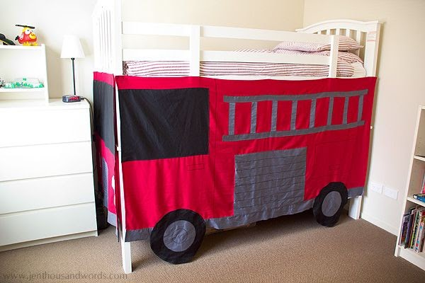 a thousand words diy fire engine bunk bed. Black Bedroom Furniture Sets. Home Design Ideas