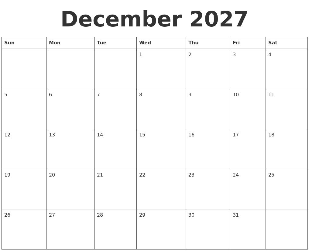 december 2027 blank calendar template