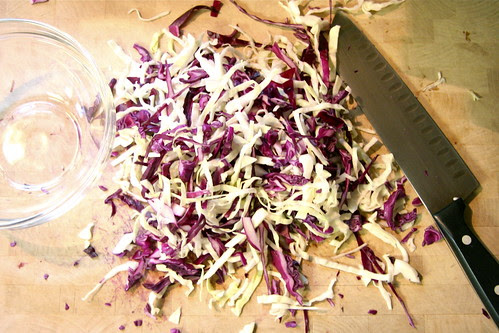 Sliced cabbage for Firecracker Slaw