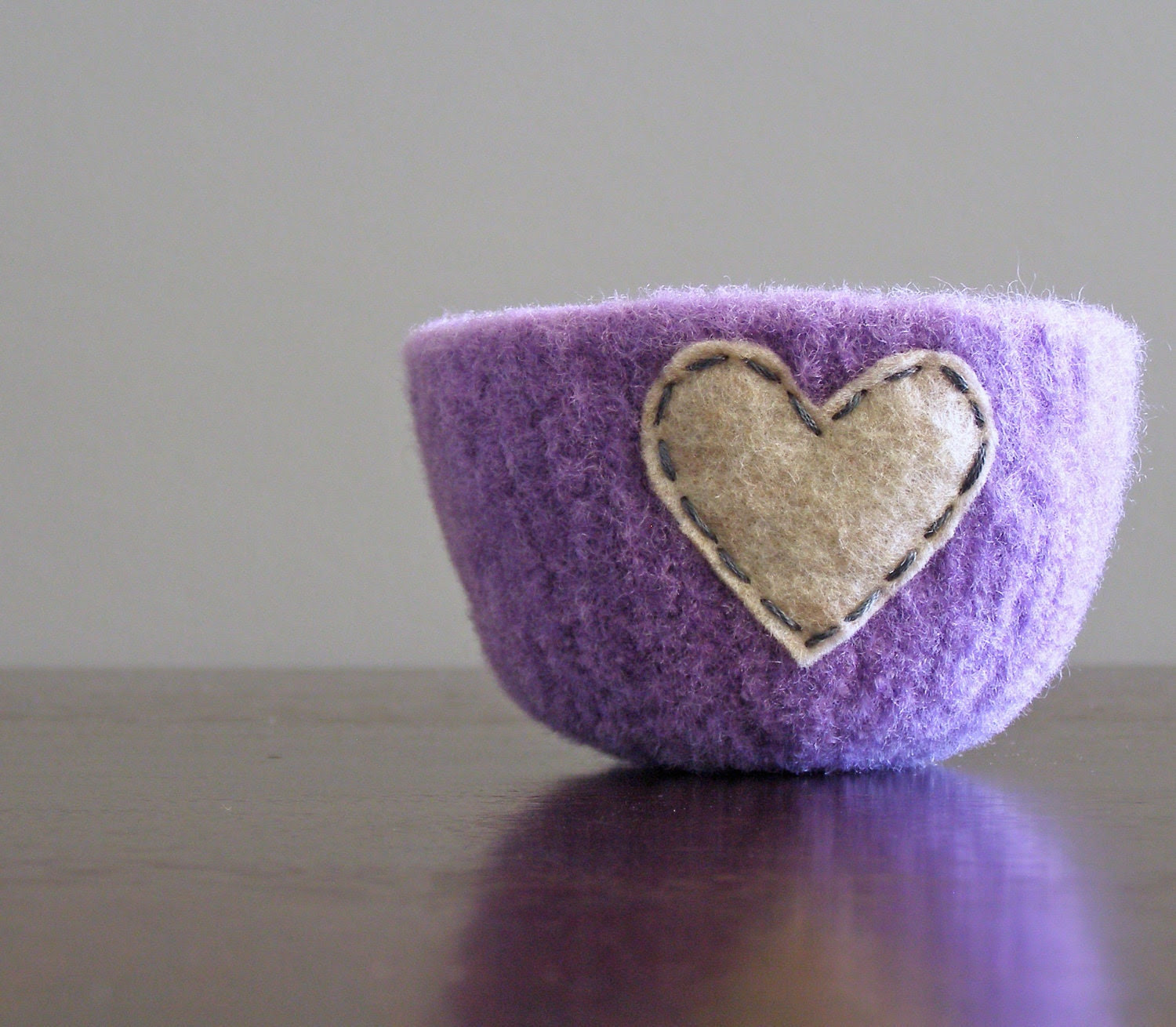 felted bowl -fuzzy felted lavender wool bowl with wheat eco felt heart - ring holder, catch all