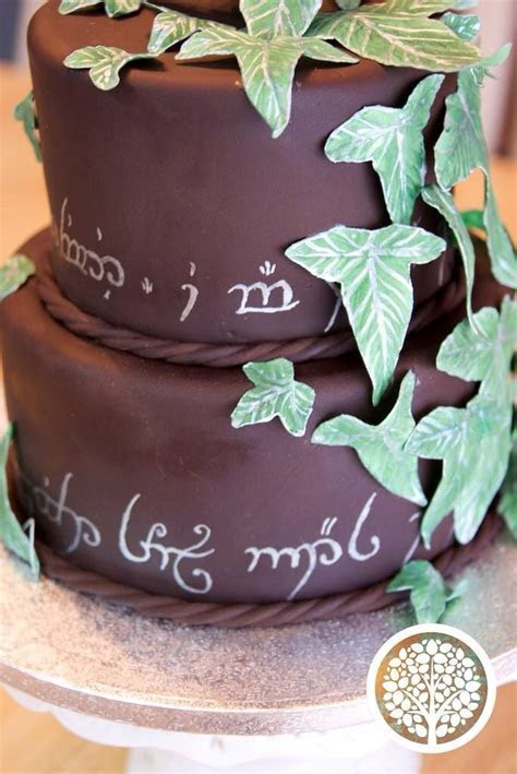 Lord of the Rings bridal shower cake. Hand painted elvish