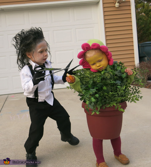 Edward Scissorhands and a Flower Pot Costume