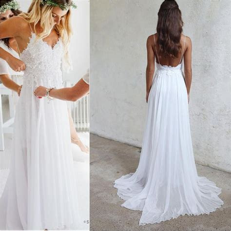 Spaghetti Straps White Long Chiffon Lace Beach Wedding