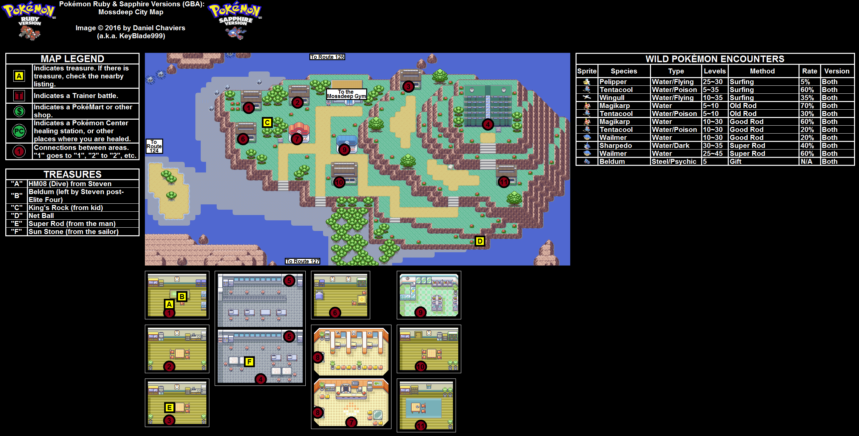 Pokémon Ruby / Sapphire Mossdeep City Map PNG