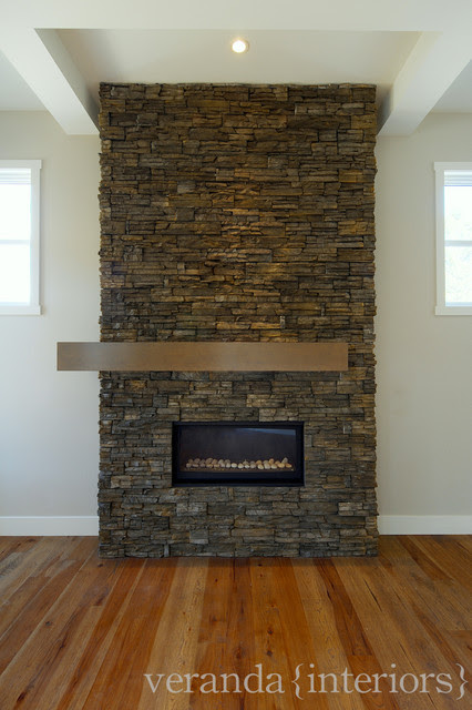Stone fireplace with off set mantle - contemporary - living room ...