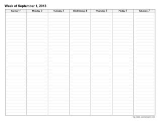 Lined Weekly Printable Calendar - CalendarsQuick