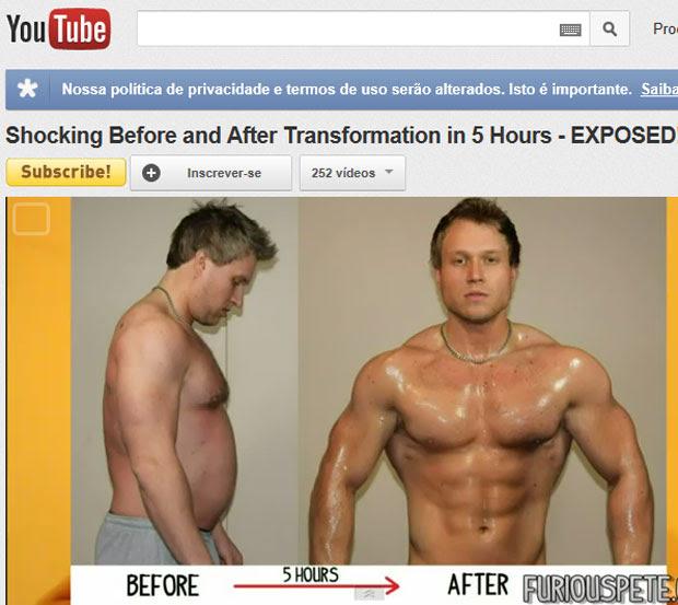 'Furious Pete' mostra o 'antes e depois' produzido em cinco horas e em ordem inversa (Foto: Reprodução/Youtube)