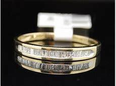 LADIES YELLOW GOLD BAGUETTE DIAMOND WEDDING BAND RING   eBay