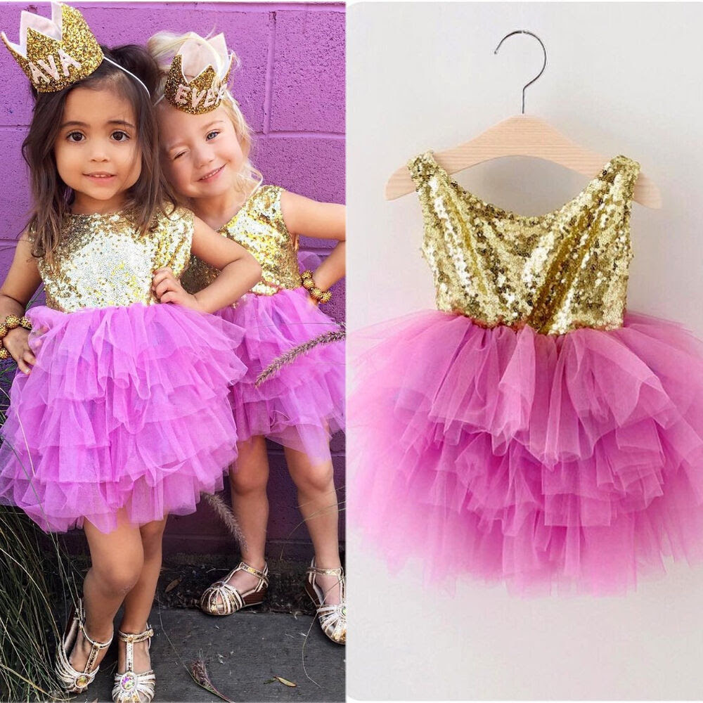 sequins kids baby girls princess pageant tulle layered